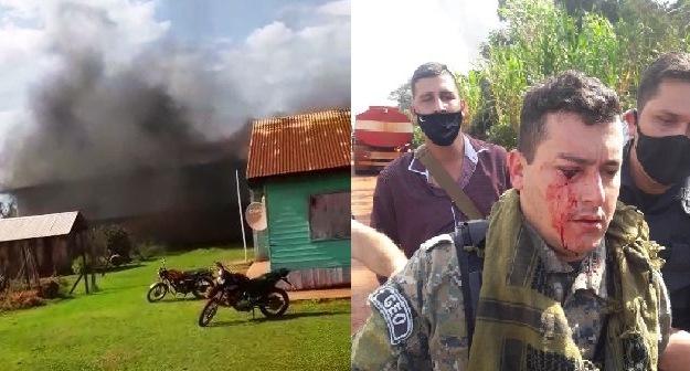 Violenta invasión de finca rural con quema de valiosa maquinaria agrícola